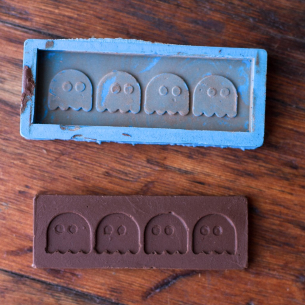 The final mold and the chocolate bar made from it.