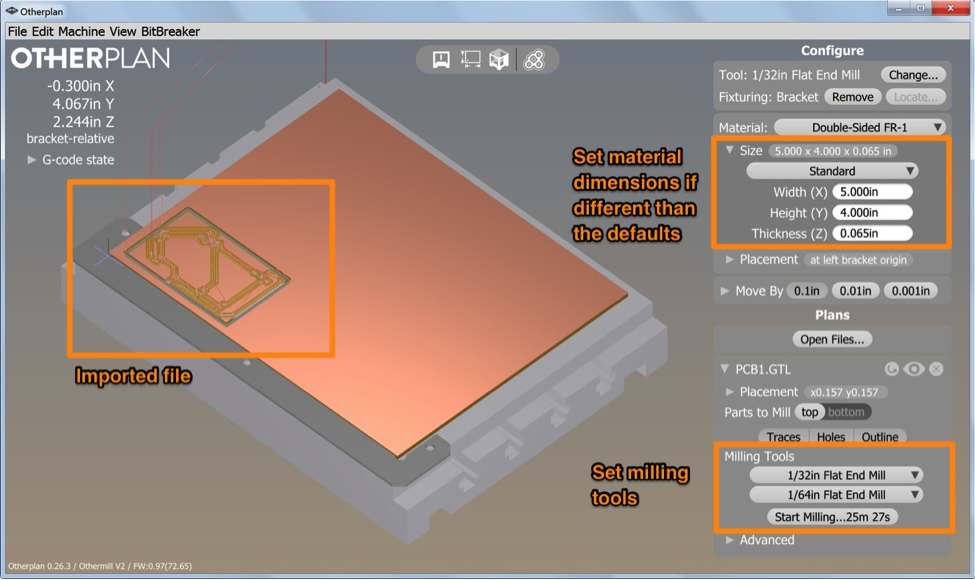 Otherplan CNC control software simulating imported Gerber files generated in CircuitMaker