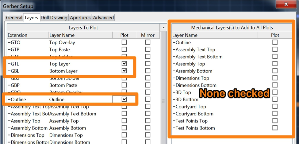 The Layers tab in the Gerber setup window in CircuitMaker, with Top Layer, Bottom Layer, and Outline selected