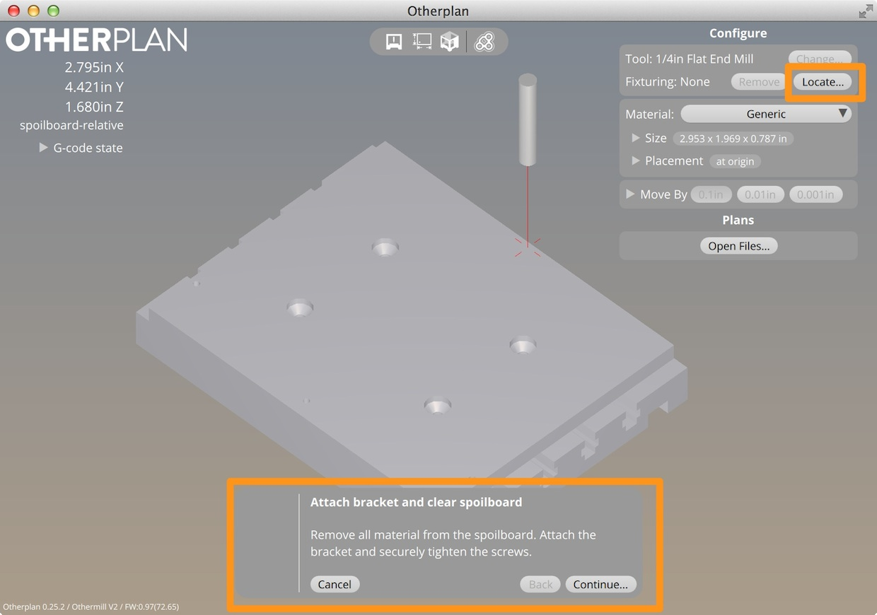 Locate dialog displayed in Otherplan