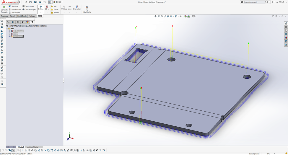 A part modeled in SolidWorks, with toolpaths made in HSMWorks